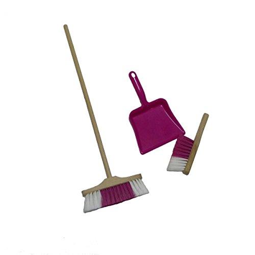 Holzspielzeug-Peitz Kinderbesen, Kinder Handfeger mit Kinderkehrschaufel Pink Goki 15430