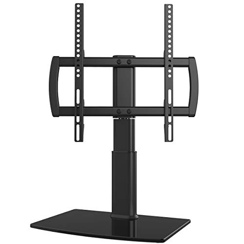 Universal Swivel TV Stand/Base Table Top TV Stand 27 to 55 inch TVs 80 Degree Swivel 4 Level Height Adjustable Heavy Duty Tempered Glass Base Holds up to 99lbs Screens HT04B001