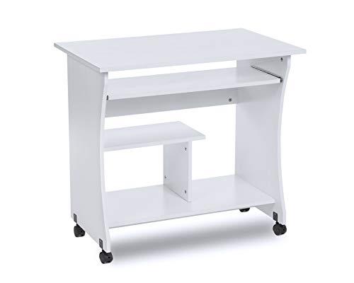 ts-ideen Scrivania Tavolo da Studio con Ruote Bianco Computer Ufficio PC con mensola per la Tastiera e per Monitor