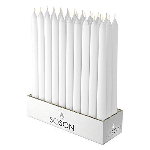 Simply Soson 12x3/4 Inch White Unscented Tall Taper Candles. Smokeless and Drip-Less Smooth Flame Long Burn Paraffin Wax Dinner Candles Pack of 30