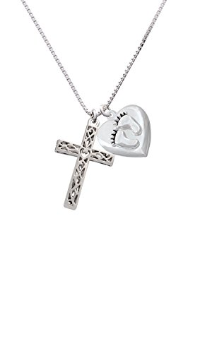 Delight Jewelry Large Celtic Vine Cross Custom Engraved Baby Feet Heart Locket Necklace