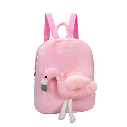 BESTOYARD Kinder Flamingo Rucksack niedlich Umhängetasche Kleinkind Snack Tasche Vorschule Plüsch Tasche mit abnehmbarem Kuscheltier Spielzeug (pink)