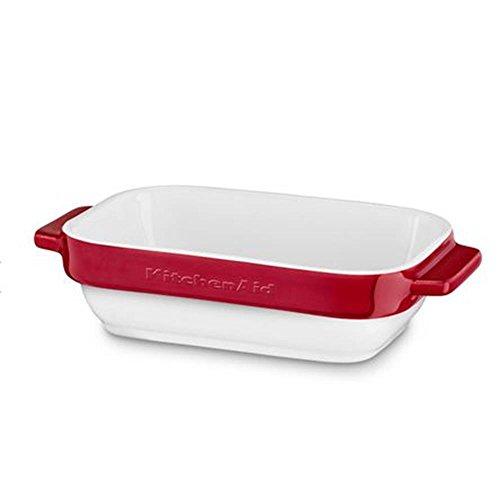 KitchenAid ovenschaal, keramiek, wit/rood, 20x11,5 x 5 cm