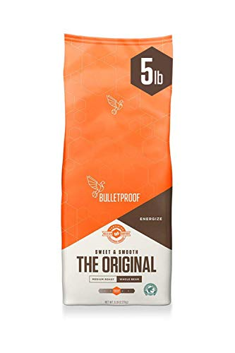 Bulletproof The Original Whole Bean Coffee, Medium Roast, 80 Oz, Keto Friendly, Certified Clean Coffee, Rainforest Alliance, Whole Bean