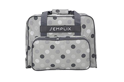 SEMPLIX Nähmaschinentasche Polka Dots Stein/grau, 45x34x24 | stabile Transport und Aufbewahrungs Tasche in vielen frischen Farben, für alle gängigen Haushaltsnähmaschinen