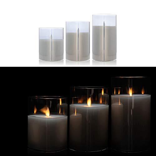 DbKW 3er Set Große LED Kerzen im edlen Glas-Zylinder, verspiegelt, Flackerfunktion, 13, 15 und 18 cm Höhe. Sehr Hochwertig und Elegant (3er Anthrazit)