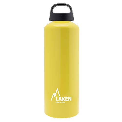 Laken Classic Botella de Agua Cantimplora de Aluminio con Tapón de Rosca y Boca Ancha, 1L Amarillo