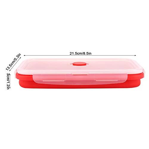 Fiambrera Bento Rectangular Fácil de Limpiar Fiambrera de Silicona Fiambrera No Adhesiva Respetuoso con el Medio Ambiente para el Hogar Viajes Picnic Otras Actividades Camping(red)