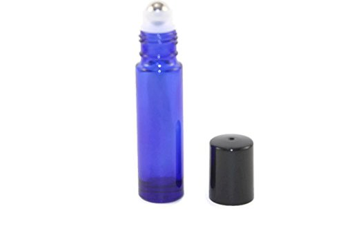 USA 144-10ml Cobalt Blue Glass Roll On Thick Bottles (144) with Stainless Steel Roller Balls - Refillable Aromatherapy Essential Oil Roll On (144)