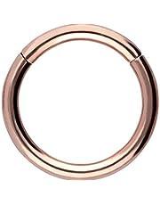 Piercingline - Piercing ad anello in acciaio chirurgico con chiusura a scatto, per setto nasale, helix, trago, colore e dimensioni a scelta