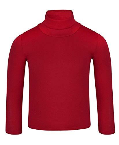 LOTMART Kinder Uni Einfach Langärmelig Figurbetont Rollkragen Hemd, Rot, 104 (Herstellergröße: 3-4 Jahre)
