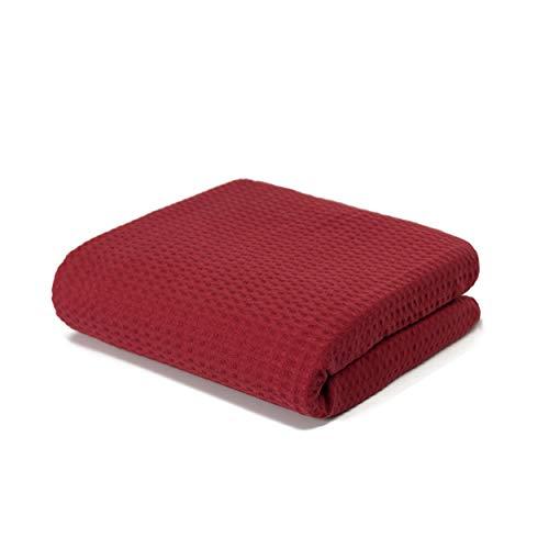 LANGDHUUS Colcha Original Botón Gofre | 100% algodón orgánico | Manta de Verano | Manta de sofá | Colcha (Burdeos, 150 x 220 cm)