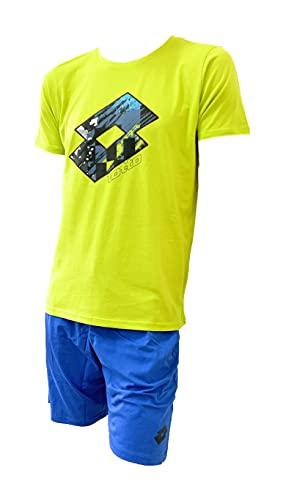 Lotto Completo Uomo Sportivo, T-Shirt + Pantaloncino, Completo Uomo Estivo in Cotone, Corto Estivo (036 Acido + 556 Bluette 021 Bianco + 556 Bluette, XL, x_l)
