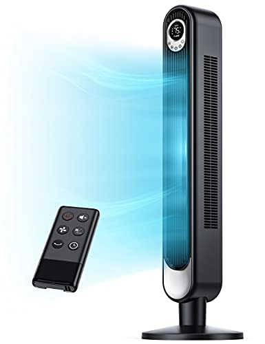 """SUGOAL 42"""" Tower Fan with 6 Speeds, Electric Fan Oscillating 90°. Remote Control. Quiet. 3 Modes. 12-Hour Timer. LED Display. Black Standing Indoor Bladeless Fan for Bedroom, Office, Living Room"""