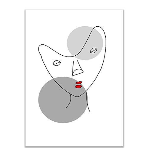 W15Y8 Abstracto Negro Blanco Romántico Beso Lienzo Pintura Arte Cartel Parejas Amantes Habitación Decoración Del Hogar-60X80Cm Sin Marco