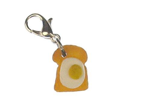 Miniblings Taost mit Ei Charm Zipper Pull Frühstück Anhänger Bettelanhänger Brot