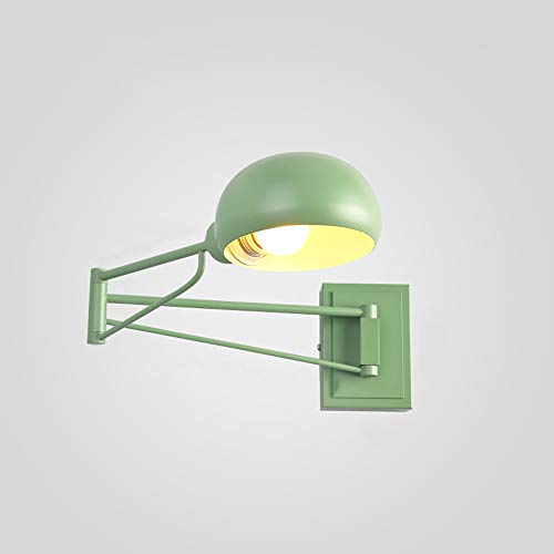 MAGO Klassische Nordic Loft Industrie Style, verstell- Jieldé Wandleuchte Weinlese-Metallschmiedeeisen Wandleuchter Wandleuchten LED E27 for Wohnzimmer Schlafzimmer Badezimmer (Color : Green)