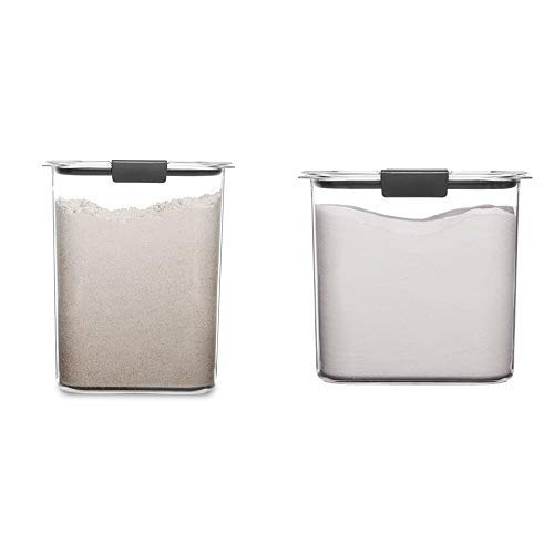 Rubbermaid Brilliance Pantry 16 and 12 Cup Flour & Sugar Storage Container Set, Clear, 4-Piece Set (2 Bases with Lids)