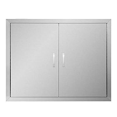 """APWONE Outdoor Kitchen Access Doors Double BBQ Access Door 304 Stainless Steel Doors Cabinet Door Flush Mount with Removable Chromium Plated Handle - 31"""" X 24"""""""