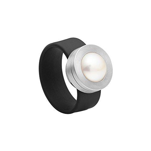 Heideman Ring Damen Colori schwarz aus Edelstahl Silber farbend und schwarz Damenring für Frauen mit Swarovski Stein Kristall