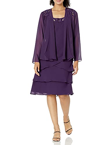 SL Fashions Women's Embellished Tiered Sequin Jacket Dress (Petite and Regular), Eggplant, 12