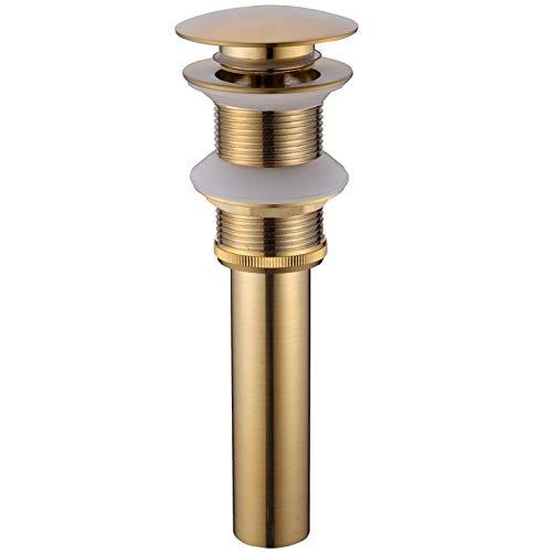 TRUSTMI Messing Badezimmer Becken Waschbecken Abfall Moderne Pop Up Click Clack Sprung Stecker Ohne Überlauf, Gebürstetes Gold