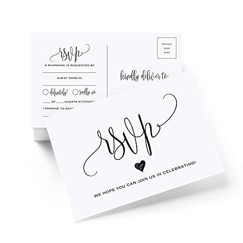 Bliss Collections RSVP Postkarten für Hochzeit, 50 Stück Antwortkarten, perfekt für Brautparty, Probe-Dinner, Verlobungsfeier, Babyparty oder jeden besonderen Anlass