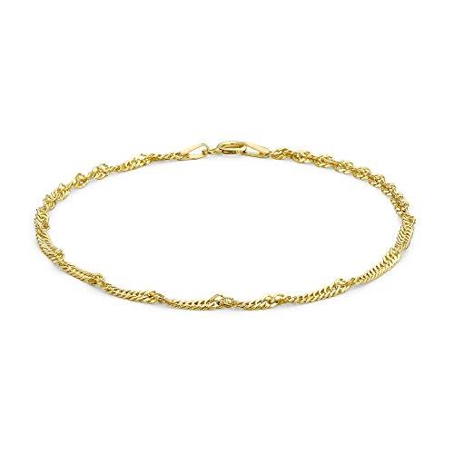 Carissima Gold Damen 9k (375) Gelbgold 2mm 50 PG Twist Panzerfußkette 25.5cm/10zoll 1.23.0485