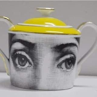 ヴィンテージfornasettiゴールドコーヒーセットティーポットシュガーポットミルクジャグセラミックコーヒーカップセットティーカップ箸置きキッチン家の装飾ギフト (Sugar jug)