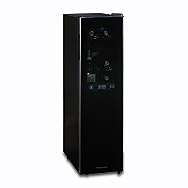 Wine Enthusiast 272 03 18 05 Silent 18 Bottle Dual Zone Wine Cooler with Upright Bottle Storage, Black