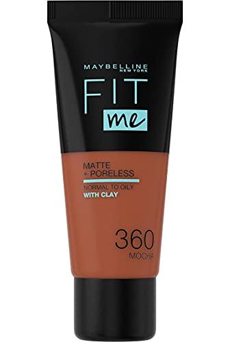 Maybelline New York, Base de Maquillaje que Calca a tu Tono Fit me! Mate y Afinaporos, Color: 360 Mocha