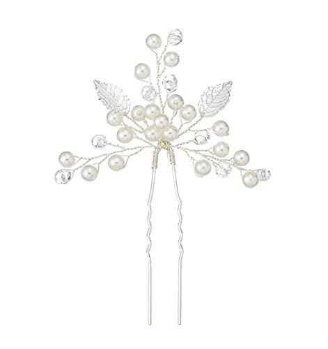 Fashion Jewery 2 St. Damen Haarschmuck Accessoires Haarblumen Haargesteck Haarnadeln Haarstecker Perlen Hochzeit Strass Tiara Diadem Blumen Blüte Braut Haarschmuck Silber (Modell 1)