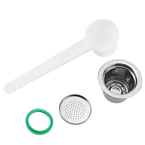 Refillable Stainless Steel Coffee Capsules, Reusable Coffee Pods with Spoon for Nespresso Machines