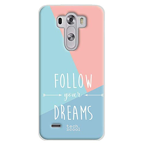 Funnytech Funda Silicona para LG G3 [Gel Silicona Flexible, Diseño Exclusivo] Frase Follow Your Dreams Fondo Tricolor