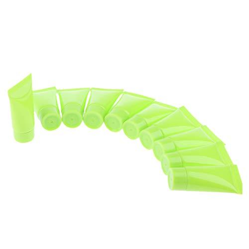 Sharplace 10x 5 Ml vide Flacon Rechargeable Echantillons de Tubes de Doux Plastique Récipient pour Produits Cosmétiques Shampooing Lotion de corps - Vert