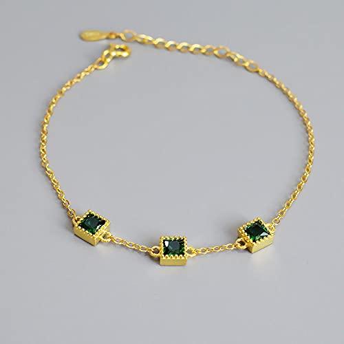 Shangwang - Pulsera de plata de ley 925 cuadrada con circonita verde para mujer