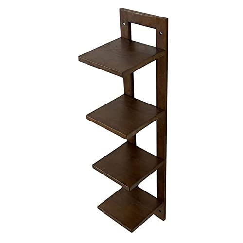 Solid Wood Wall Mounted Racks -200x215x900mm -4 Tier Shelf Living Room TV Wall Partition Storage Rack Flower (Color : Walnut)