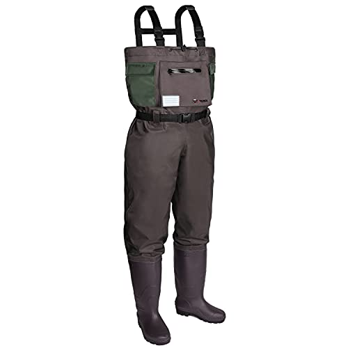 RUNCL Chest Waders, Waist-High Waders, Bootfoot Waders - Reinforced Nylon Outer Layer, Seamless Breathable Tech, Ergonomic Design, Fly Patch -...