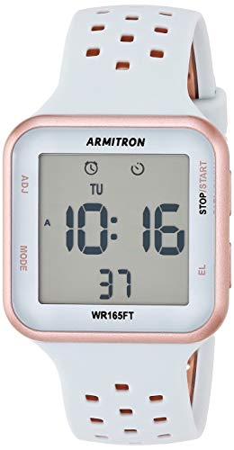 Armitron Sport Unisex 40/8417PBL Digital Chronograph Rose Gold-Tone and Powder Blue Perforated Silicone Strap Watch