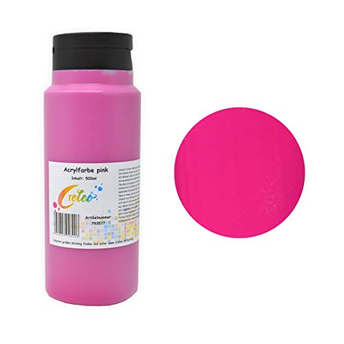 Acrylfarbe pink hochwertige Malfarbe in einer 500 ml Flasche