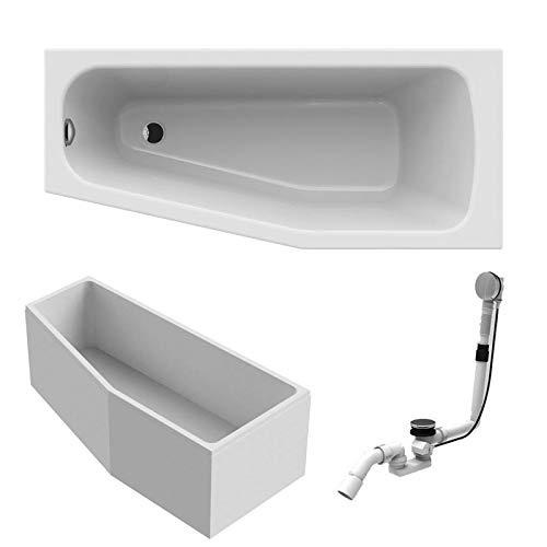 BADOSAN Acryl Raumsparwanne links Komplett Badewanne Made by RIHO weiß 160 x 70 inkl. Ab- und Überlauf und Styroporträger