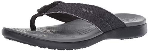 Crocs Herren Santa Cruz Canvas Flip Men Zehentrenner, Schwarz (Black/Slate Grey 0dd), 39/40 EU