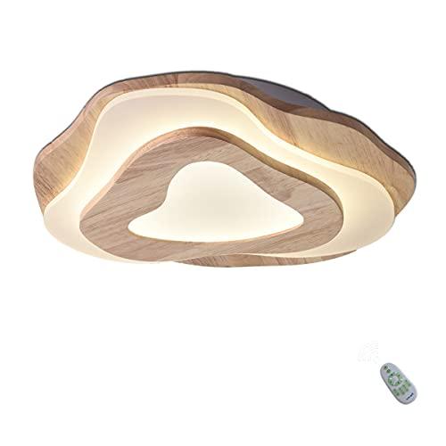 LED Holz Deckenlampe - Stufenloses Dimmen Deckenleuchte - Schlafzimmerlampe - Kinderzimmerlampe - Acryl Lampenschirm - Herzförmiges Design - Flur Lampen - inkl. Fernbedienung - 35W - 2800lm - Ø40cm