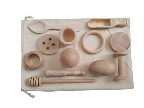 Gerileo Cesto de los Tesoros Montessori - Juego Heurístico - Juego de Accesorios pequeños de Cocina con Bolsa de Tela (Bolsa Blanca + 12 Piezas)