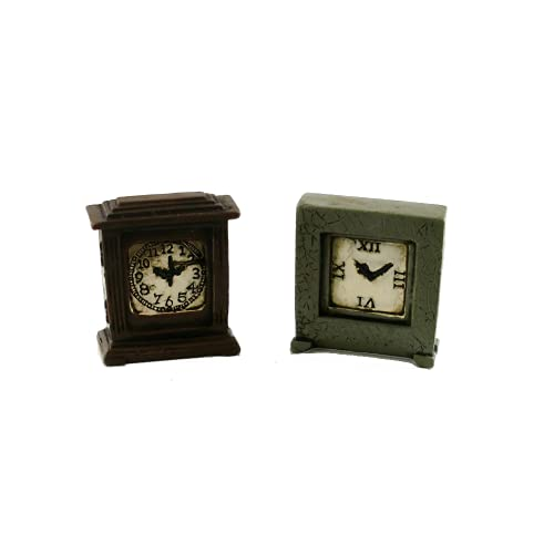 Maison de Poupées Miniature 1:12 Échelle Ornement Accessoire 2 Aged Résine Manteau Horloges