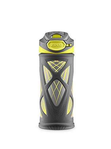 ZULU Echo BPA-Free Vacuum Insulated Stainless Steel Kids Water Bottle with Flip Straw, Mojo Blue, 12 oz. (Grey/Green Lasers)