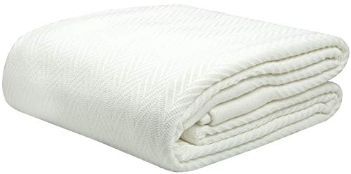 Threadmill Home Linen Queen Blanket - 1 Piece Herringbone Cotton Throw Blanket, Smooth 100% Extra Long Staple Cotton, Warm White Throw for Bed, Couch...