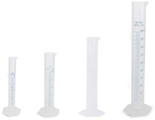 Nuolux Lot de 4 éprouvettes plastique graduées 10 ml 25 ml 50 ml 100 ml (transparent)