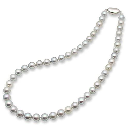 【特別提供品】アコヤ真珠 グレー ネックレス 7.5-8mm 本真珠 品質保証書付き グレーパール 冠婚葬祭