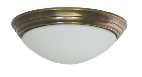 Deckenleuchte / Flurleuchte, Bauhaus Stil, Messing antik-handpatiniert (Altmessing), Höhe mit Glas 10 cm, Ø 31 cm, 230 V, E27 60 W